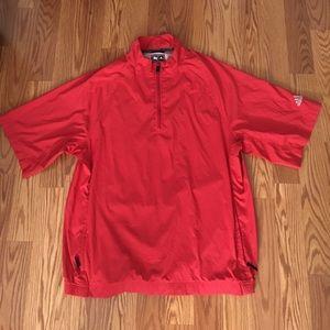 Red short sleeve Adidas windbreaker zip up